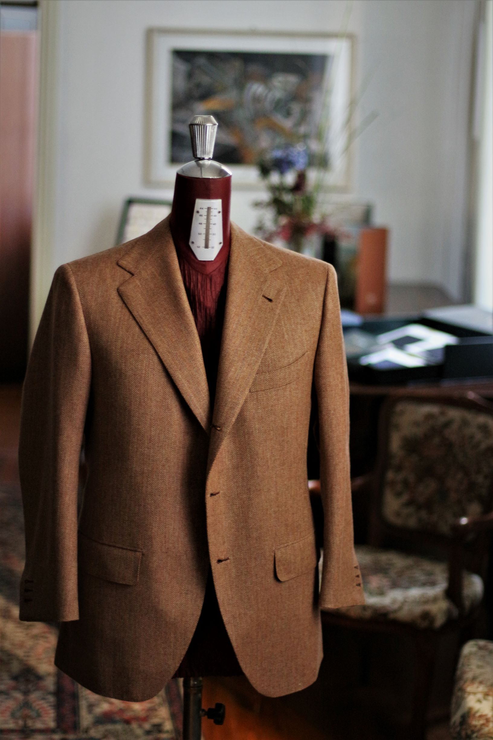 with Strong Herringbone Tweed